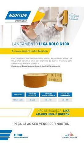 Imagem de Lixa Rolo Norton G100 Massa Madeira Gesso 12cmx45mt Grão 220