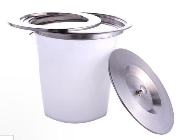 Imagem de Lixeira de Embutir Balde Plástico Acabamento em Aço Inox 5 Litros Globalmix GH107