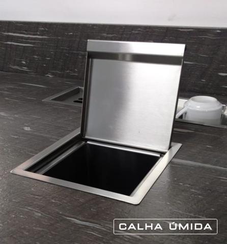 Imagem de Lixeira de Embutir Quadrada Aço Inox para Bancada 3,9 Litros