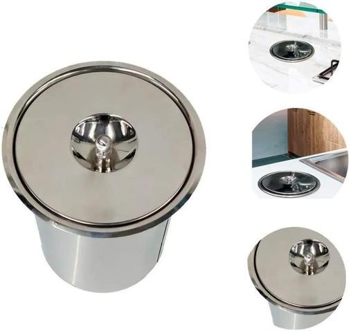 Imagem de Lixeira Pia Cozinha Embutir Aço Inox 5 Litros