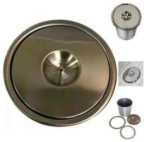 Imagem de Lixeira Pia Cozinha Embutir No Granito Em Inox 3lt 15X25 CM