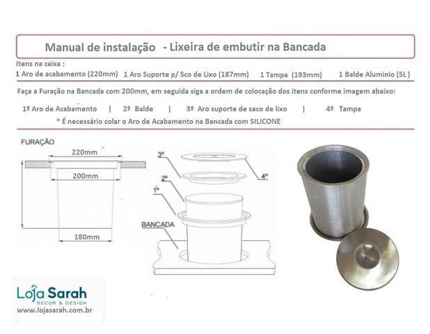 Imagem de Lixeira Pia Cozinha Embutir No Granito Em Inox 5lts 20X24 CM