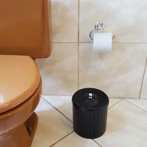Imagem de Lixeira Plástica 5l Com Tampa Higiênica Banheiro Cozinha Preta