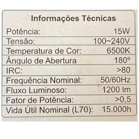 Imagem de Luminária 15w Led Tartaruga Arandela Sobrepor Bivolt 6500k