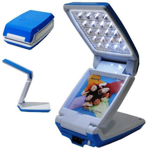 Imagem de Luminária Abajur Articulado com Foto 20 Leds Recarregável Azul WMTLL80388