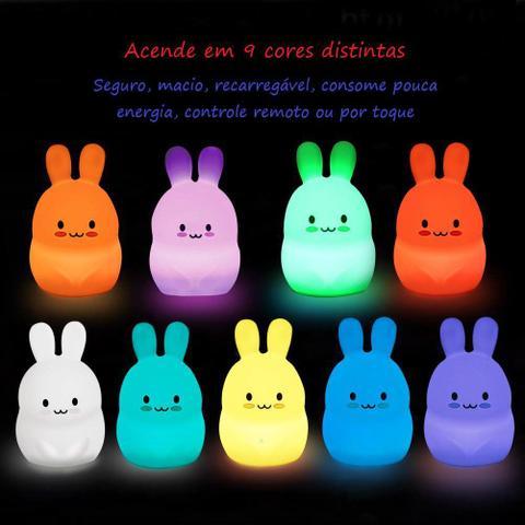 Imagem de Luminária Abajur Led Infantil Coelho Sem Fio Pet Light