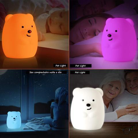 Imagem de Luminária Abajur Led Infantil Urso Sem Fio Pet Light