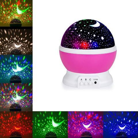 Imagem de Luminaria Abajur Rotativa Projetor Ceu Criança Luz Festa Neon Quarto Estrelas