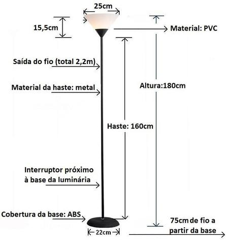 Imagem de Luminária Chão 1,80m Pedestal Coluna Abajur Led Spot Bivolt Glee MT901F