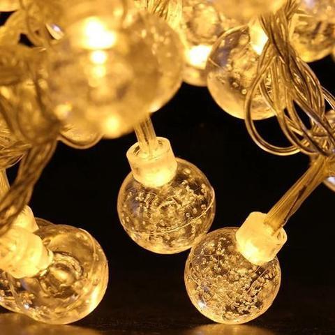 Imagem de Luminária Cordão Fio De Luz 20 Bolas Bolhas 3m Led Decoração