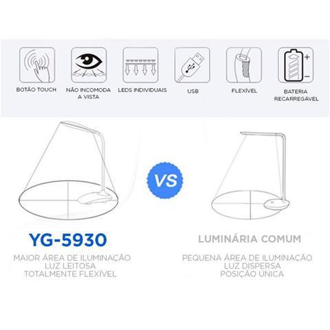 Imagem de Luminaria de mesa abajur touch com 21 leds preto luxo articulavel flexivel para estudos e bancada re