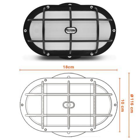 Imagem de Luminária LED Arandela Sobrepor 3000K 12W 127V-220V Resistente à Água Tipo Tartaruga