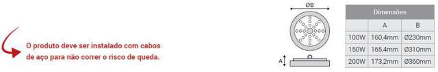 Imagem de Luminária Led Ufo High Bay 150w Bivolt 6.500K - Kian
