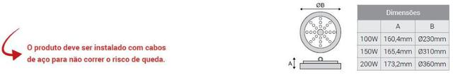 Imagem de Luminária Led Ufo High Bay 200w Bivolt 6.500K - Kian