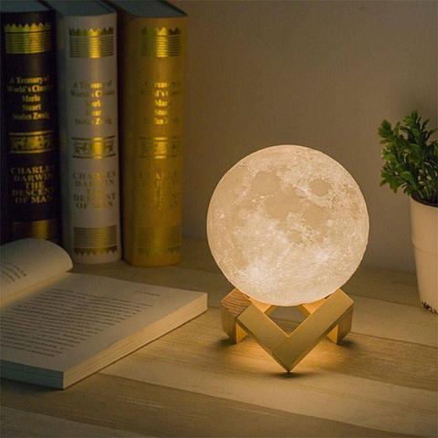 Imagem de Luminária Lua Cheia 10 cm 3 d Abajur LED 2 Cores P/e BASE