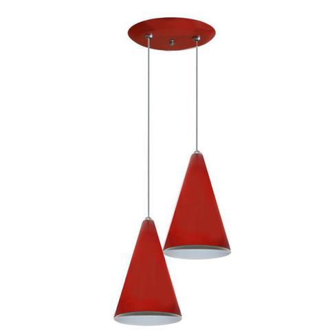 Imagem de Luminaria Pendente Colorido Duplo Para Sala Quarto Cozinha - Vermelho