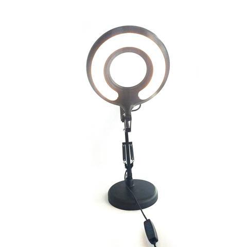 Imagem de Luminária Ring Light Articulada Led de Mesa USB 5W 3 Tons Regulável Para Leitura Escritório Estudo Selfie