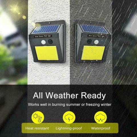 Imagem de Luminária Solar 48 Leds Arandela Parede Muro Com Sensor Presença Resistente Sol e Chuva