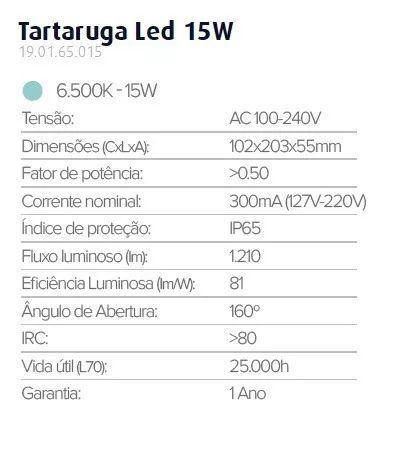 Imagem de Luminaria Tartaruga Led Sobrepor Branca 15w 6500k Ip65 Biv