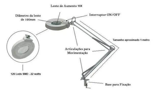 Imagem de Lupa 10x zoom Luminária Bancada Led Estética Articulável