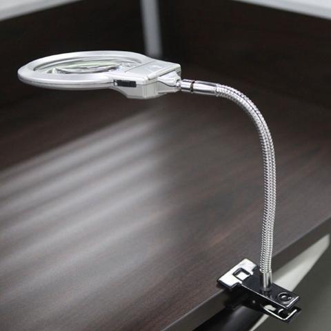 Imagem de Lupa de Mesa Flexível com Luz de LED Aumento de 5x e 2x MG15122-2B