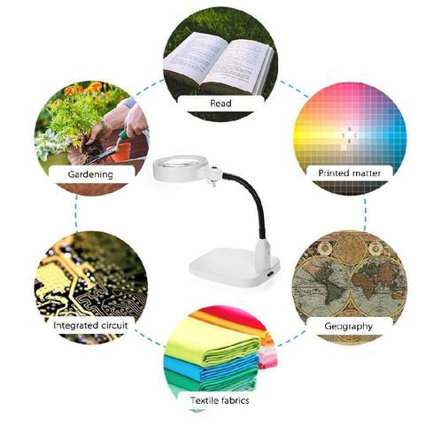 Imagem de Lupa de mesa led articulavel aumento 8x estetica mecanica luminária para bancada escritorio consulto