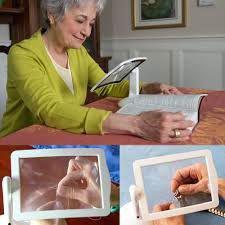 Imagem de Lupa de mesa led aumento 3x maos livre com iluminação e rotacao estetica leitura bancada artesanato