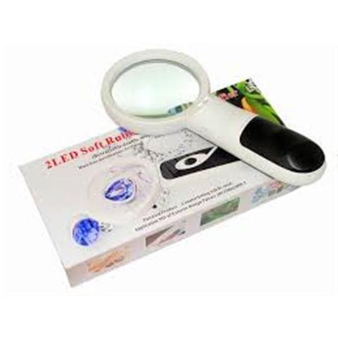 Imagem de Lupa portatil com iluminação led de mao para limpeza de pele medicina e industria dupla 3x 75mm e 20