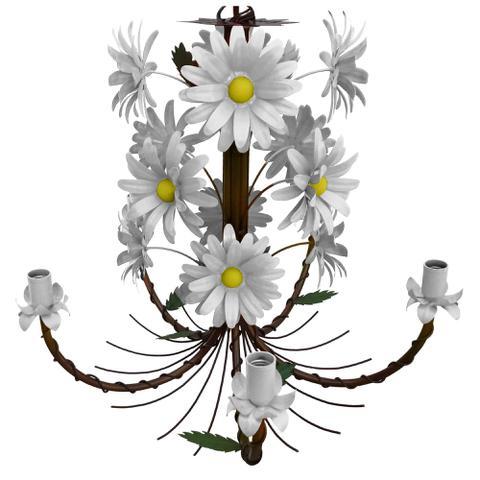 Imagem de Lustre Artesanal Sala de Jantar Rustico com Flores de Ferro 05 Bocas