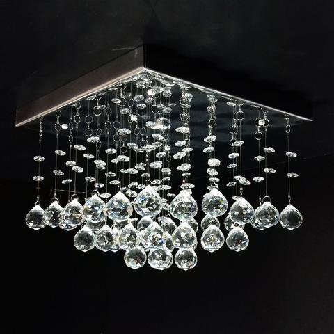 Imagem de Lustre de Cristal quadrado pirâmide curta 30x30cm + Lâmpada LED 220V