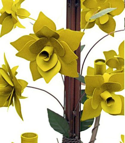 Imagem de Lustre De Ferro Sala de Jantar Moderna Flores com 4 Braços Rustico