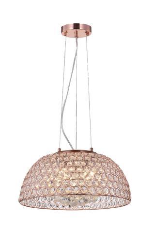 Imagem de Lustre Pendente Cristal E Aramado Ouro Rosé 40cm