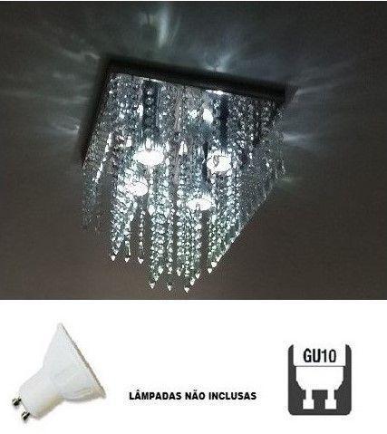Imagem de Lustre Plafon de Cristal Acrílico - Soquete GU10 - Debby Artes