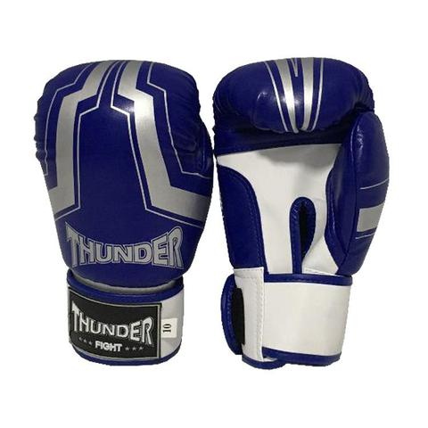 Imagem de Luva 10 Oz - Boxe / Muay Thai / Kickboxing / IRON AZUL COM PRATA - Thunder Fight - Ref 194