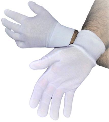 Imagem de Luva de Algodão Kit 2 Prs Tamanho P para Alérgicos Alergia mãos Fantasia Garçom Buffet