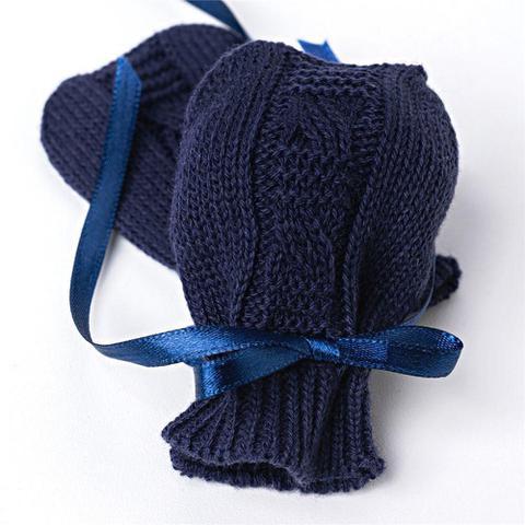 Imagem de Luvas para Bebê Tricot Trança Azul Marinho Grão de Gente