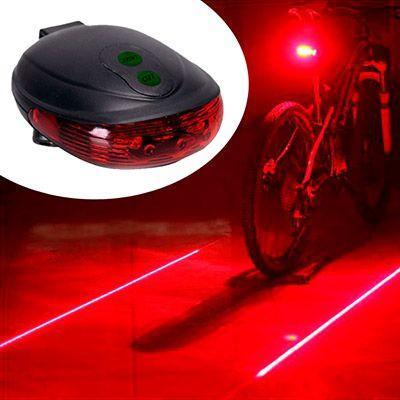 Imagem de Luz alerta lanterna para bicicleta 3 leds com guia laser