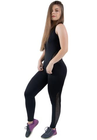 Imagem de Macacão 4 Estações Com Tela Furadinha Fitness Longo Decotado Feminino Liso de Amarrar Sem Bojo Preto