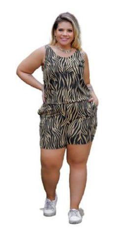 Imagem de Macacão Feminino Curto Regata Estampado Plus Size Mazal