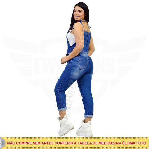 Imagem de Macacão Jardineira Feminina Jeans Longo Retrô - EWF Jeans - Azul Escuro