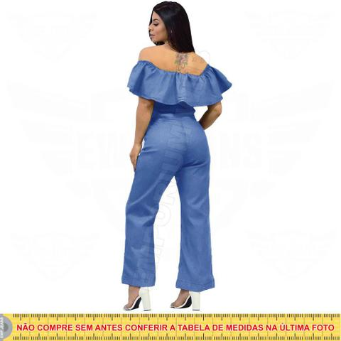 Imagem de Macacão Jeans Feminino Longo manga Ciganinha  EWF Jeans  Azul Claro