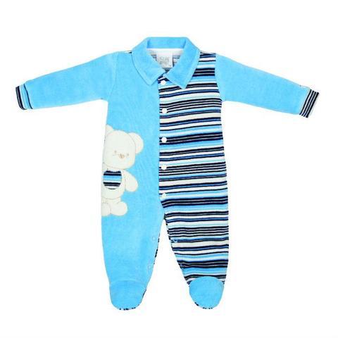 8a832e8d06 Imagem de Macacão Longo Bebê Zig Mundi Ursinho - Azul Listrado - Zig Mundi