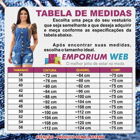 Imagem de Macaquinho Curto Jardineira Feminina Jeans retrô - EWF Jeans - Azul Escuro