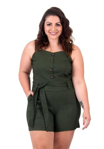 Imagem de Macaquinho Verde Militar Plus Size Com Cinto e Botões