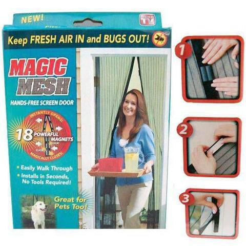 Imagem de Magic Mesh Cortina Mosquiteiro Tela Protetora para Insetos Mosquitos e Moscas