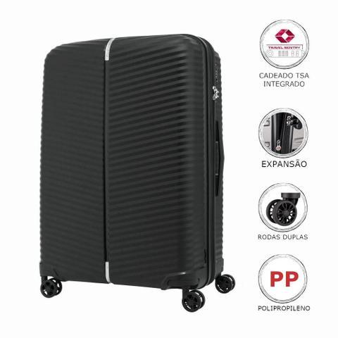 Imagem de Mala de Viagem Media Expansível em Polipropileno Samsonite Varro Cadeado TSA Preta