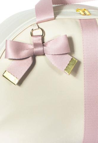 Imagem de Mala Maternidade Lyssa Baby coleção laços cor marfim com alça e laço rosé