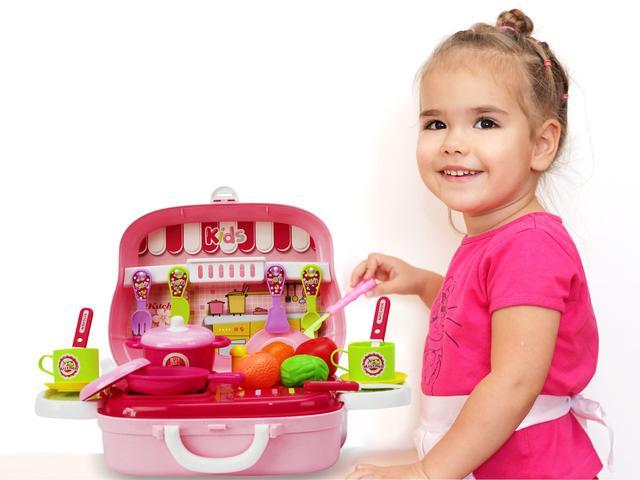 Imagem de Maleta cozinha frutas e legumes infantil rosa - mc18242rs