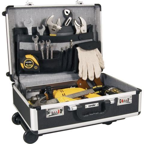 Imagem de Maleta para ferramentas 455x330x155mm preta com puxador e rodas mf180 - Vonder