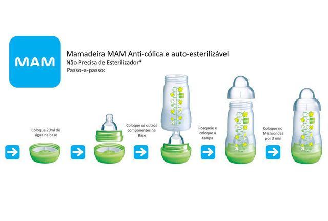 Imagem de Mamadeira Easy Start 130ml e 260ml Rosa (0m+) - MAM